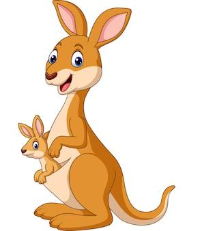 Dibujos animados de canguros felices con el bebé joey