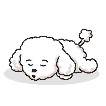 Dibujos animados de caniche lindo perrito durmiendo.