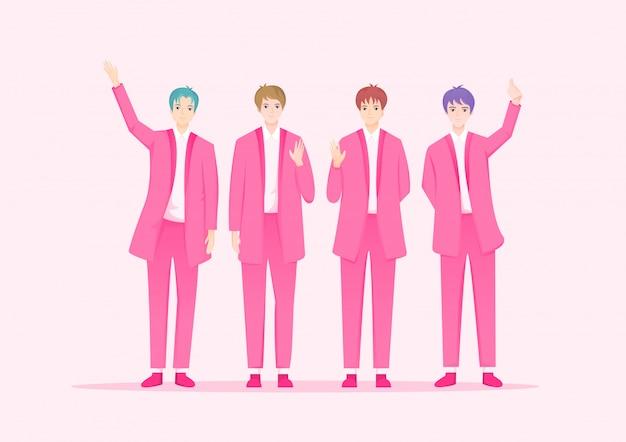 Dibujos animados de cantante de celebridad coreana. personajes del grupo de música k-pop.