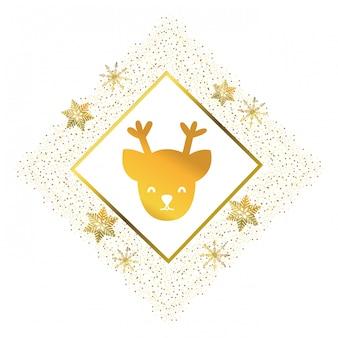 Dibujos animados de cara de ciervo de navidad