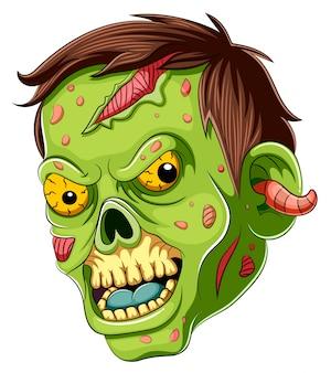 Dibujos animados de cara de zombie aterrador sobre fondo blanco