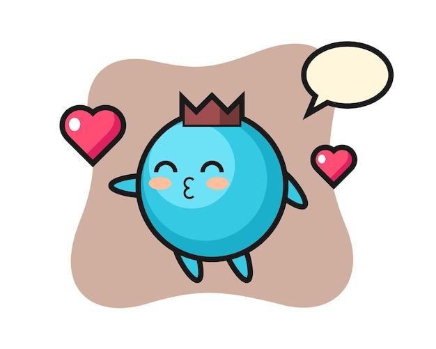 Dibujos animados de carácter de arándano con gesto de besos