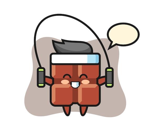 Dibujos animados de carácter de barra de chocolate con comba, estilo kawaii lindo.