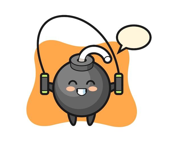 Dibujos animados de carácter de bomba con saltar la cuerda