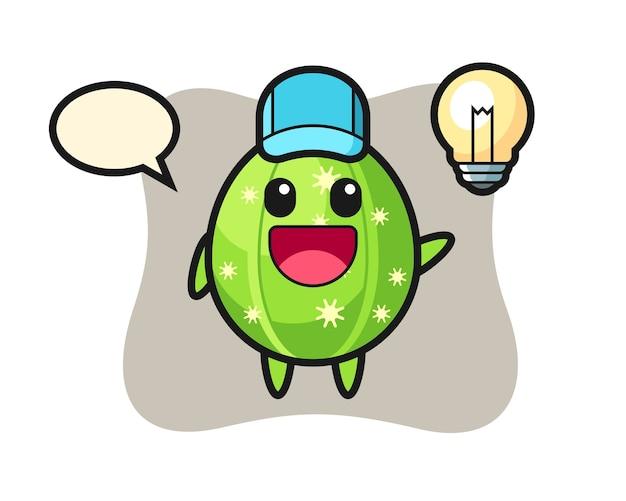 Dibujos animados de carácter de cactus entendiendo la idea