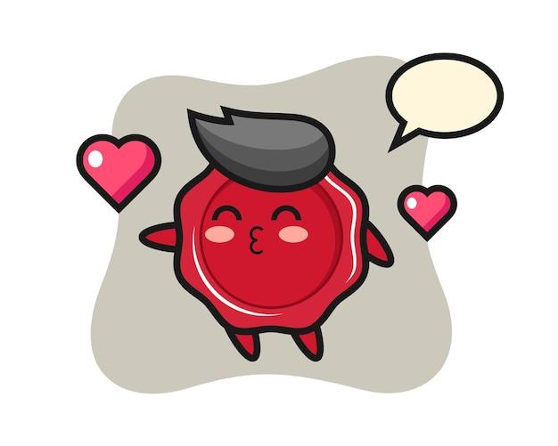 Dibujos animados de carácter de cera de sellado con gesto de besos
