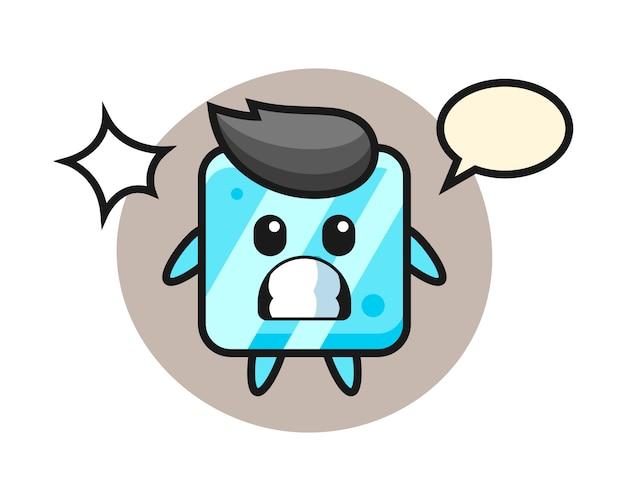 Dibujos animados de carácter de cubo de hielo con gesto de sorpresa