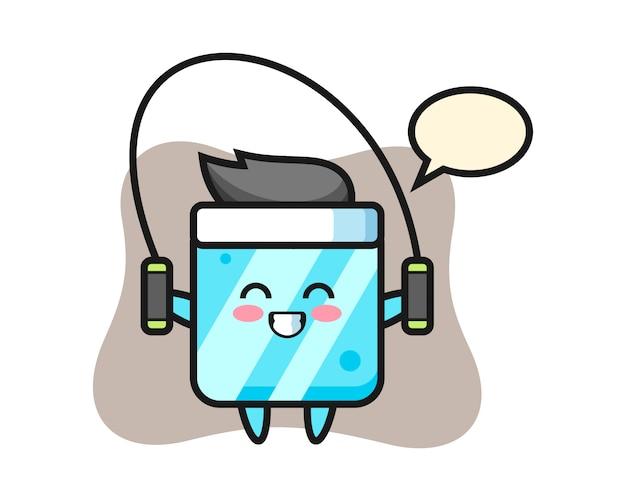 Dibujos animados de carácter de cubo de hielo con saltar la cuerda