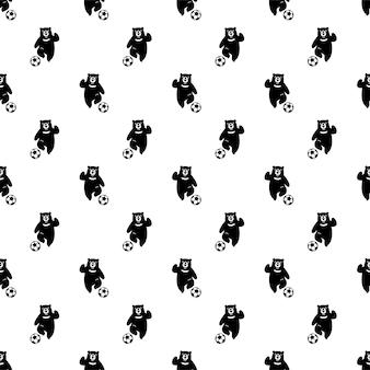 Dibujos animados de carácter de fútbol de fútbol de patrones sin fisuras de oso polar