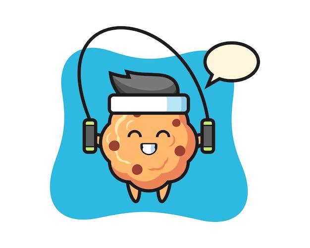 Dibujos animados de carácter de galleta con chispas de chocolate con saltar la cuerda