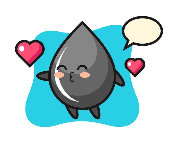 Dibujos animados de carácter de gota de aceite con gesto de besos