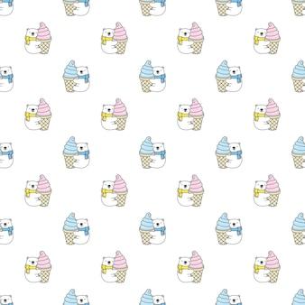Dibujos animados de carácter de helado de patrones sin fisuras de oso polar