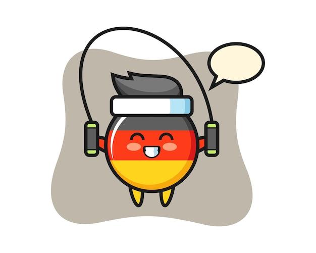 Dibujos animados de carácter de insignia de bandera de alemania con saltar la cuerda