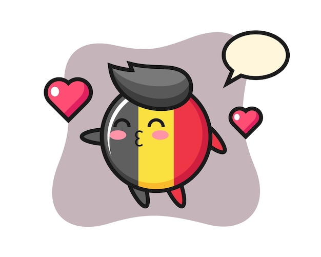 Dibujos animados de carácter de insignia de bandera de bélgica con gesto de besos