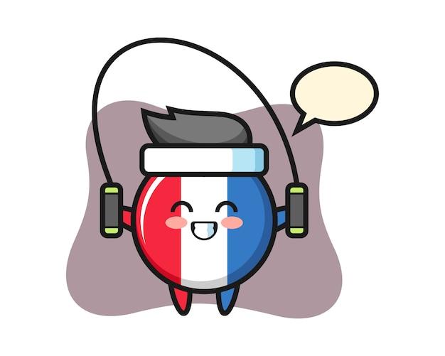 Dibujos animados de carácter de insignia de bandera de francia con saltar la cuerda