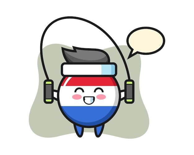 Dibujos animados de carácter de insignia de bandera de holanda con saltar la cuerda