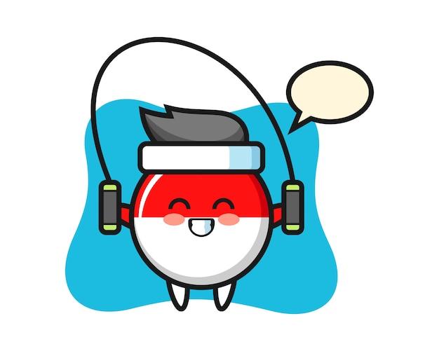 Dibujos animados de carácter de insignia de bandera de indonesia con saltar la cuerda