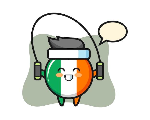 Dibujos animados de carácter de insignia de bandera de irlanda con saltar la cuerda