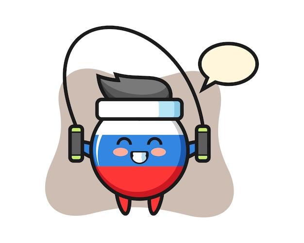 Dibujos animados de carácter de insignia de bandera de rusia con comba, diseño de estilo lindo