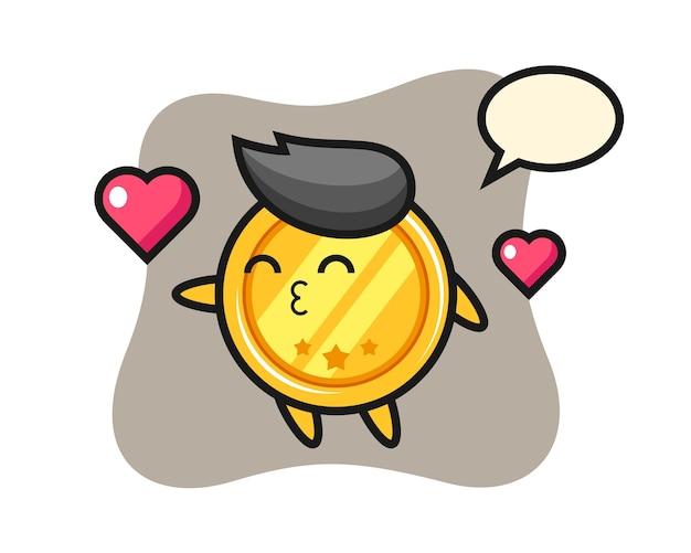 Dibujos animados de carácter medalla con gesto de besos