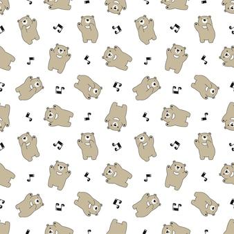 Dibujos animados de carácter de música de patrones sin fisuras oso polar