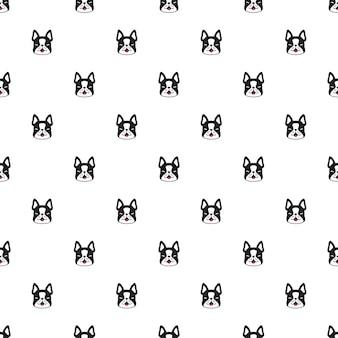 Dibujos animados de carácter de perro bulldog francés de patrones sin fisuras