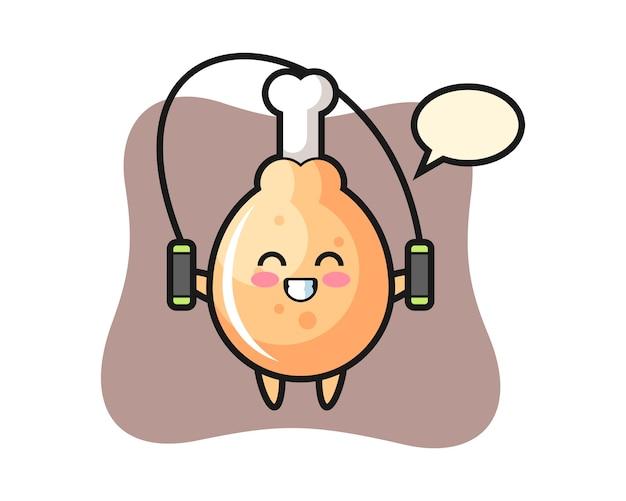 Dibujos animados de carácter de pollo frito con saltar la cuerda