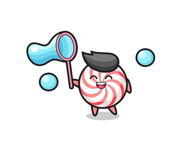 Dibujos animados de caramelo feliz jugando pompas de jabón, diseño de estilo lindo para camiseta, pegatina, elemento de logotipo