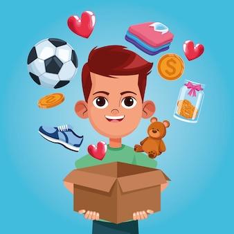 Dibujos animados de caridad donación de niños