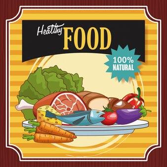 Dibujos animados de carteles vintage de comida sana