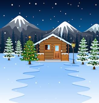 Dibujos animados de casa de madera con arbol de navidad