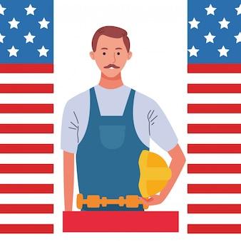 Dibujos animados de celebración de empleo del día del trabajo