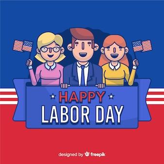Dibujos animados celebrando el día del trabajo