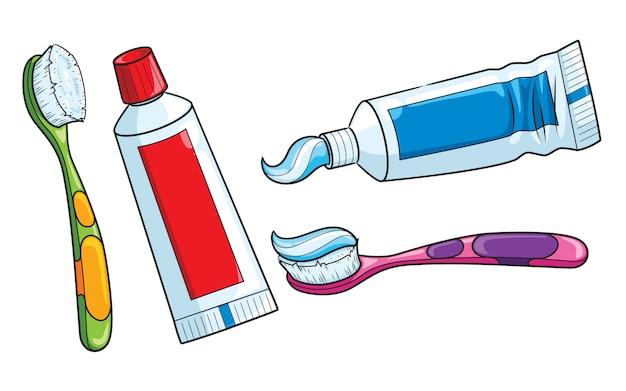 Dibujos animados de cepillo de dientes y pasta de dientes