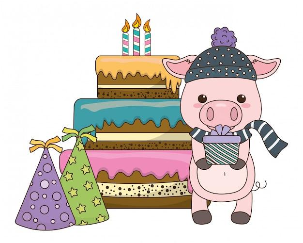 Dibujos animados de cerdo con icono de feliz cumpleaños