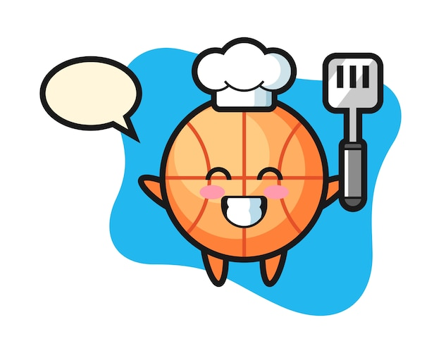 Dibujos animados de chef de baloncesto está cocinando