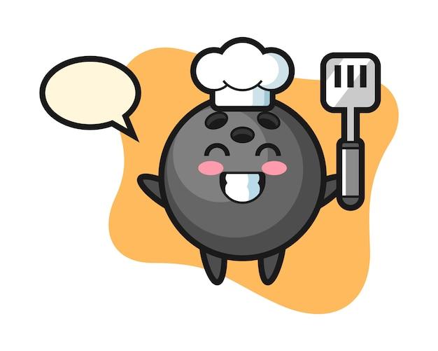 Dibujos animados de chef de bola de boliche está cocinando