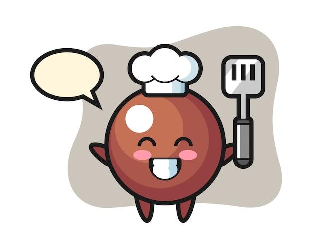 Dibujos animados de chef de bola de chocolate está cocinando