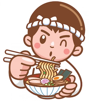Dibujos animados chef fideos japoneses presentando comida