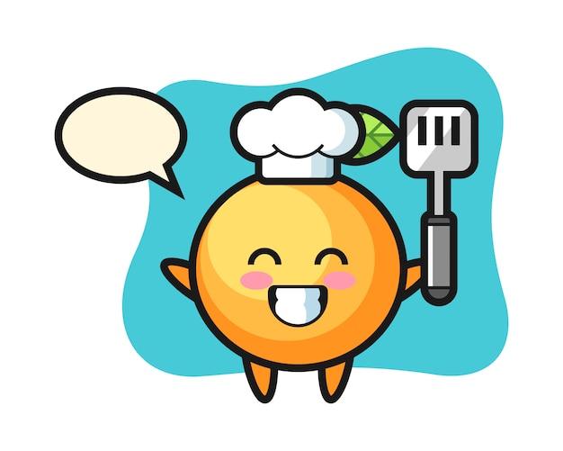 Dibujos animados de chef de fruta naranja está cocinando