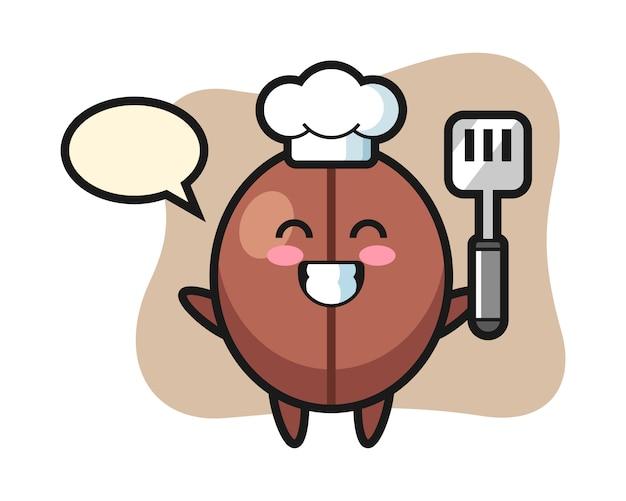 Dibujos animados de chef de grano de café está cocinando