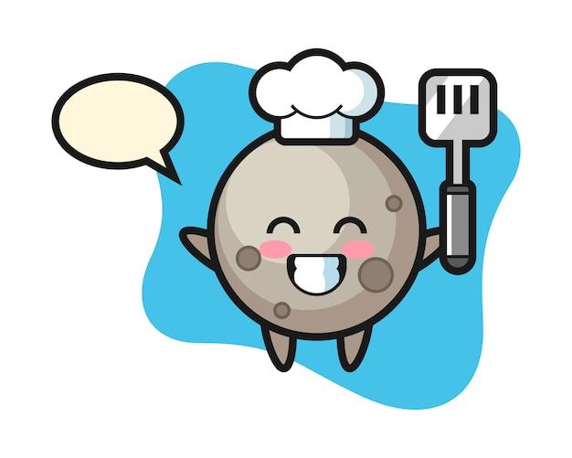 Dibujos animados chef luna está cocinando