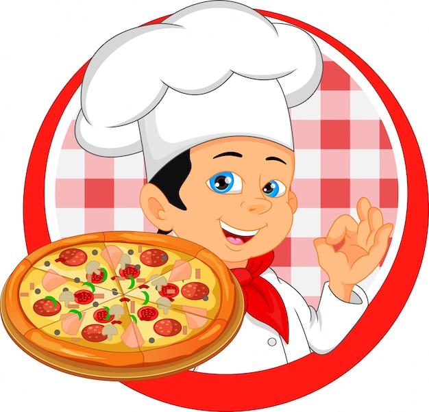 Dibujos animados de chef de niño con pizza