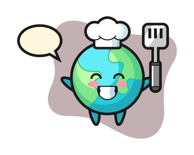 Dibujos animados de chef de tierra cocinando