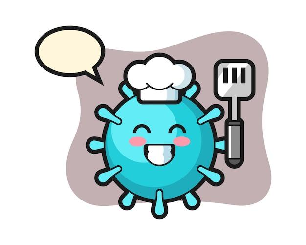 Dibujos animados de chef de virus está cocinando