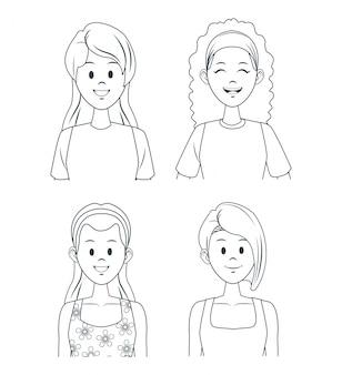 Dibujos animados de chicas jóvenes