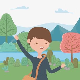 Dibujos animados de chico adolescente