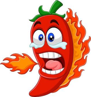 Dibujos animados chile pimiento respirando fuego
