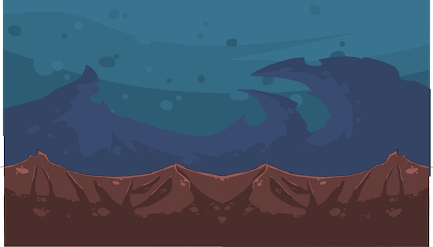 Dibujos animados de cielo nocturno y montañas