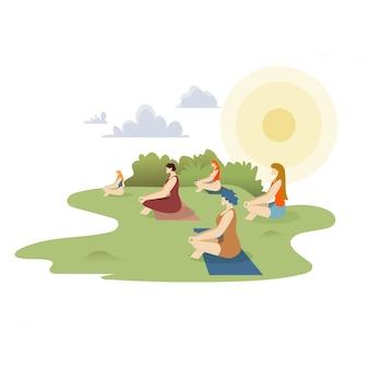 Dibujos animados de clase de yoga al aire libre